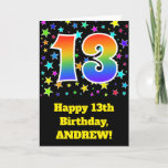 "[ Thumbnail: Colorful Stars + Rainbow Pattern ""13"" Birthday # Card ]"