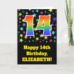 "[ Thumbnail: Colorful Stars + Rainbow Pattern ""14"" Birthday # Card ]"