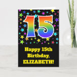 "[ Thumbnail: Colorful Stars + Rainbow Pattern ""15"" Birthday # Card ]"