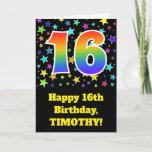 "[ Thumbnail: Colorful Stars + Rainbow Pattern ""16"" Birthday # Card ]"