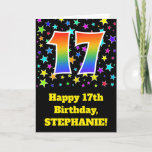 "[ Thumbnail: Colorful Stars + Rainbow Pattern ""17"" Birthday # Card ]"