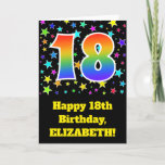 "[ Thumbnail: Colorful Stars + Rainbow Pattern ""18"" Birthday # Card ]"