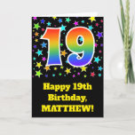 "[ Thumbnail: Colorful Stars + Rainbow Pattern ""19"" Birthday # Card ]"