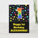 "[ Thumbnail: Colorful Stars + Rainbow Pattern ""1"" Birthday # Card ]"