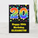 "[ Thumbnail: Colorful Stars + Rainbow Pattern ""20"" Birthday # Card ]"