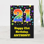 "[ Thumbnail: Colorful Stars + Rainbow Pattern ""21"" Birthday # Card ]"