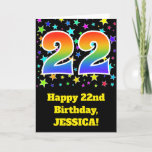 "[ Thumbnail: Colorful Stars + Rainbow Pattern ""22"" Birthday # Card ]"