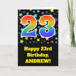 "[ Thumbnail: Colorful Stars + Rainbow Pattern ""23"" Birthday # Card ]"