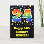 "[ Thumbnail: Colorful Stars + Rainbow Pattern ""24"" Birthday # Card ]"