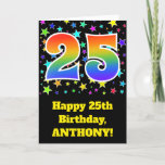 "[ Thumbnail: Colorful Stars + Rainbow Pattern ""25"" Birthday # Card ]"