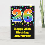 "[ Thumbnail: Colorful Stars + Rainbow Pattern ""26"" Birthday # Card ]"