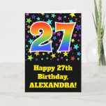"[ Thumbnail: Colorful Stars + Rainbow Pattern ""27"" Birthday # Card ]"