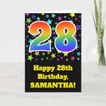 "[ Thumbnail: Colorful Stars + Rainbow Pattern ""28"" Birthday # Card ]"