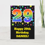 "[ Thumbnail: Colorful Stars + Rainbow Pattern ""29"" Birthday # Card ]"