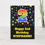 "[ Thumbnail: Colorful Stars + Rainbow Pattern ""2"" Birthday # Card ]"