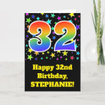"[ Thumbnail: Colorful Stars + Rainbow Pattern ""32"" Birthday # Card ]"