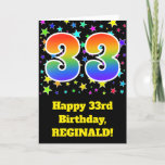 "[ Thumbnail: Colorful Stars + Rainbow Pattern ""33"" Birthday # Card ]"