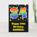 "[ Thumbnail: Colorful Stars + Rainbow Pattern ""34"" Birthday # Card ]"
