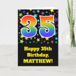 "[ Thumbnail: Colorful Stars + Rainbow Pattern ""35"" Birthday # Card ]"