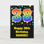"[ Thumbnail: Colorful Stars + Rainbow Pattern ""38"" Birthday # Card ]"