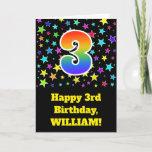 "[ Thumbnail: Colorful Stars + Rainbow Pattern ""3"" Birthday # Card ]"