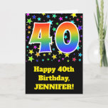 "[ Thumbnail: Colorful Stars + Rainbow Pattern ""40"" Birthday # Card ]"