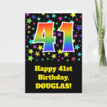 "[ Thumbnail: Colorful Stars + Rainbow Pattern ""41"" Birthday # Card ]"