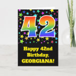 "[ Thumbnail: Colorful Stars + Rainbow Pattern ""42"" Birthday # Card ]"