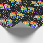 """[ Thumbnail: Colorful Stars + Rainbow Pattern """"42"""" Event # Wrapping Paper ]"""