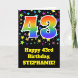 "[ Thumbnail: Colorful Stars + Rainbow Pattern ""43"" Birthday # Card ]"