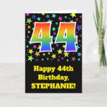 "[ Thumbnail: Colorful Stars + Rainbow Pattern ""44"" Birthday # Card ]"