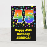 "[ Thumbnail: Colorful Stars + Rainbow Pattern ""45"" Birthday # Card ]"