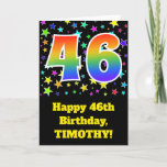 "[ Thumbnail: Colorful Stars + Rainbow Pattern ""46"" Birthday # Card ]"