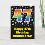 "[ Thumbnail: Colorful Stars + Rainbow Pattern ""47"" Birthday # Card ]"