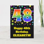 "[ Thumbnail: Colorful Stars + Rainbow Pattern ""48"" Birthday # Card ]"