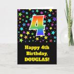 "[ Thumbnail: Colorful Stars + Rainbow Pattern ""4"" Birthday # Card ]"