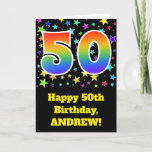 "[ Thumbnail: Colorful Stars + Rainbow Pattern ""50"" Birthday # Card ]"
