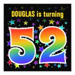 "[ Thumbnail: Colorful Stars + Rainbow Pattern ""52"" Birthday # Invitation ]"