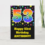"[ Thumbnail: Colorful Stars + Rainbow Pattern ""53"" Birthday # Card ]"