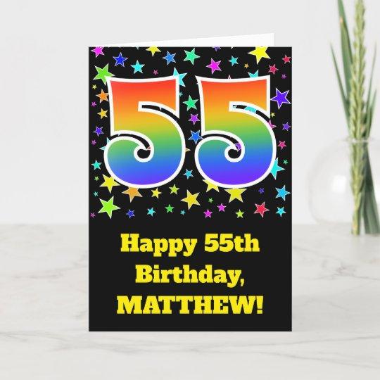 Colorful Stars Rainbow Pattern 55 Birthday Card