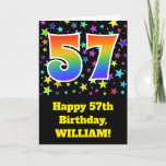 "[ Thumbnail: Colorful Stars + Rainbow Pattern ""57"" Birthday # Card ]"