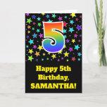 "[ Thumbnail: Colorful Stars + Rainbow Pattern ""5"" Birthday # Card ]"