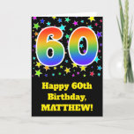 "[ Thumbnail: Colorful Stars + Rainbow Pattern ""60"" Birthday # Card ]"