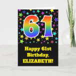 "[ Thumbnail: Colorful Stars + Rainbow Pattern ""61"" Birthday # Card ]"
