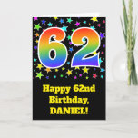 "[ Thumbnail: Colorful Stars + Rainbow Pattern ""62"" Birthday # Card ]"
