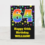 "[ Thumbnail: Colorful Stars + Rainbow Pattern ""64"" Birthday # Card ]"