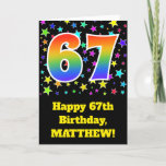 "[ Thumbnail: Colorful Stars + Rainbow Pattern ""67"" Birthday # Card ]"