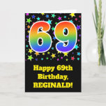 "[ Thumbnail: Colorful Stars + Rainbow Pattern ""69"" Birthday # Card ]"
