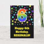 "[ Thumbnail: Colorful Stars + Rainbow Pattern ""6"" Birthday # Card ]"