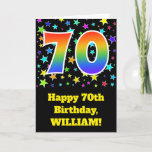 "[ Thumbnail: Colorful Stars + Rainbow Pattern ""70"" Birthday # Card ]"